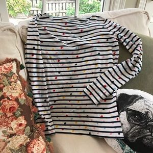 Boden striped tee with multi-colored dots